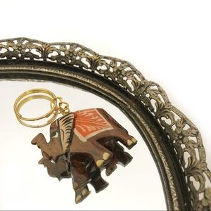 Elephant Key Ring Hand carved and Painted Keychain